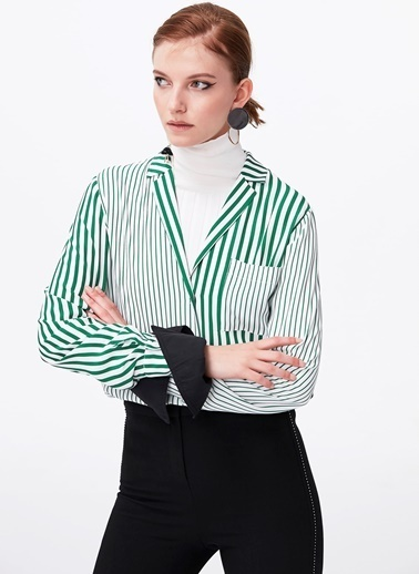 Ipekyol Pijama Form Çizgi Geçişli Gömlek Yeşil